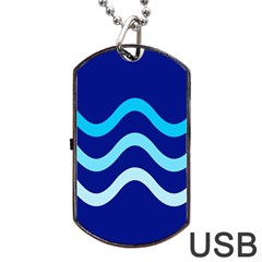 Blue Waves  Dog Tag Usb Flash (one Side) by Valentinaart