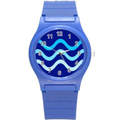 Blue Waves  Round Plastic Sport Watch (s) by Valentinaart