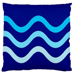 Blue Waves  Large Cushion Case (one Side) by Valentinaart