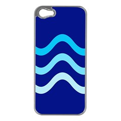 Blue Waves  Apple Iphone 5 Case (silver) by Valentinaart