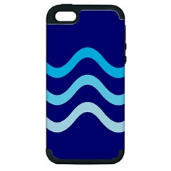 Blue Waves  Apple Iphone 5 Hardshell Case (pc+silicone) by Valentinaart