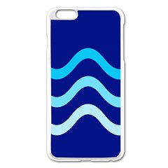 Blue Waves  Apple Iphone 6 Plus/6s Plus Enamel White Case by Valentinaart