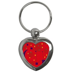 Red Abstract Sky Key Chains (heart)  by Valentinaart