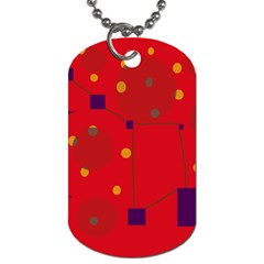 Red Abstract Sky Dog Tag (two Sides) by Valentinaart