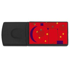 Red Abstract Sky Usb Flash Drive Rectangular (4 Gb)  by Valentinaart
