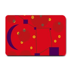 Red Abstract Sky Small Doormat  by Valentinaart