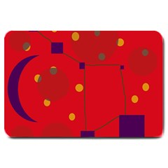 Red Abstract Sky Large Doormat