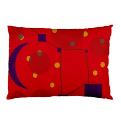 Red Abstract Sky Pillow Case by Valentinaart
