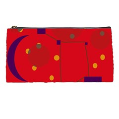 Red Abstract Sky Pencil Cases by Valentinaart