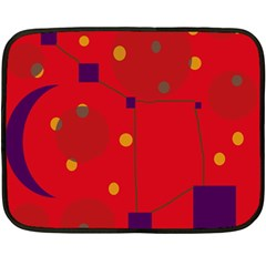 Red Abstract Sky Double Sided Fleece Blanket (mini)  by Valentinaart