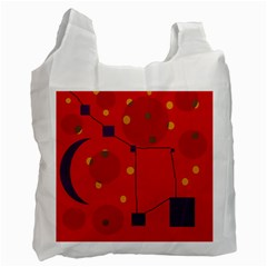 Red Abstract Sky Recycle Bag (two Side)  by Valentinaart