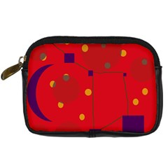Red Abstract Sky Digital Camera Cases by Valentinaart