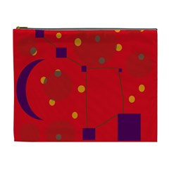 Red Abstract Sky Cosmetic Bag (xl) by Valentinaart