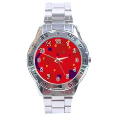Red Abstract Sky Stainless Steel Analogue Watch by Valentinaart