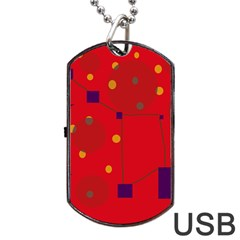 Red Abstract Sky Dog Tag Usb Flash (two Sides)  by Valentinaart