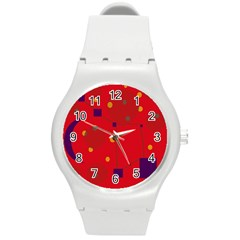 Red Abstract Sky Round Plastic Sport Watch (m) by Valentinaart