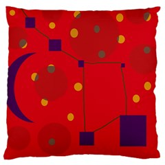Red Abstract Sky Large Cushion Case (one Side) by Valentinaart