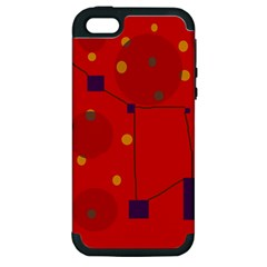 Red Abstract Sky Apple Iphone 5 Hardshell Case (pc+silicone) by Valentinaart