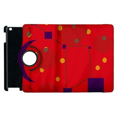 Red Abstract Sky Apple Ipad 2 Flip 360 Case by Valentinaart