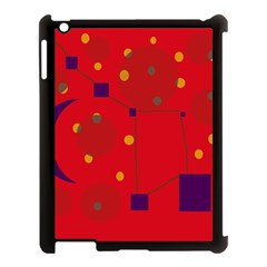 Red Abstract Sky Apple Ipad 3/4 Case (black) by Valentinaart
