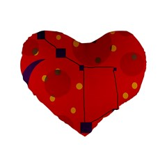 Red Abstract Sky Standard 16  Premium Heart Shape Cushions by Valentinaart