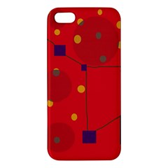 Red Abstract Sky Apple Iphone 5 Premium Hardshell Case by Valentinaart