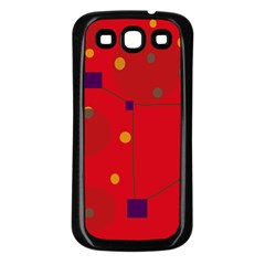Red Abstract Sky Samsung Galaxy S3 Back Case (black) by Valentinaart