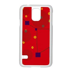 Red Abstract Sky Samsung Galaxy S5 Case (white) by Valentinaart