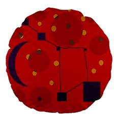 Red Abstract Sky Large 18  Premium Flano Round Cushions by Valentinaart