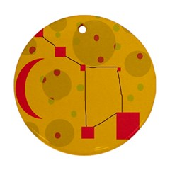 Yellow Abstract Sky Ornament (round)  by Valentinaart