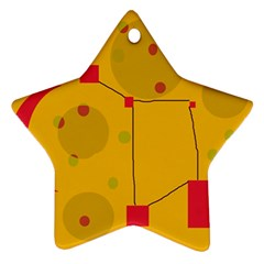 Yellow Abstract Sky Ornament (star)  by Valentinaart