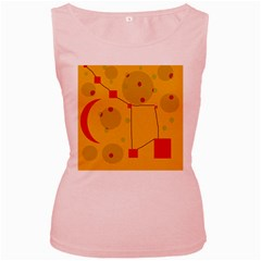 Yellow Abstract Sky Women s Pink Tank Top by Valentinaart