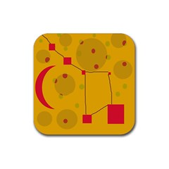 Yellow Abstract Sky Rubber Square Coaster (4 Pack)  by Valentinaart
