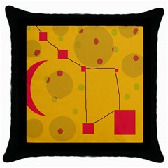 Yellow Abstract Sky Throw Pillow Case (black) by Valentinaart