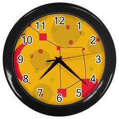 Yellow Abstract Sky Wall Clocks (black) by Valentinaart