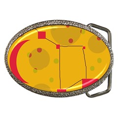 Yellow Abstract Sky Belt Buckles by Valentinaart