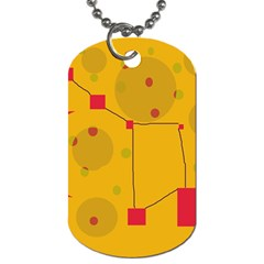 Yellow Abstract Sky Dog Tag (two Sides) by Valentinaart