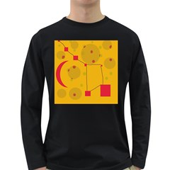 Yellow Abstract Sky Long Sleeve Dark T Shirts by Valentinaart