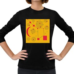 Yellow Abstract Sky Women s Long Sleeve Dark T Shirts by Valentinaart