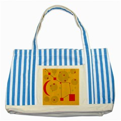 Yellow Abstract Sky Striped Blue Tote Bag by Valentinaart