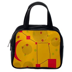 Yellow Abstract Sky Classic Handbags (one Side) by Valentinaart