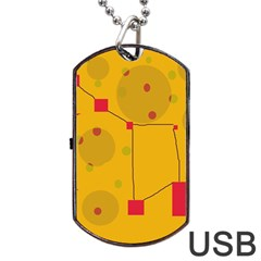 Yellow Abstract Sky Dog Tag Usb Flash (two Sides)  by Valentinaart