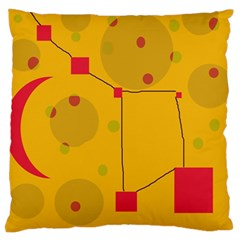 Yellow Abstract Sky Large Cushion Case (one Side) by Valentinaart