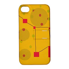 Yellow Abstract Sky Apple Iphone 4/4s Hardshell Case With Stand by Valentinaart