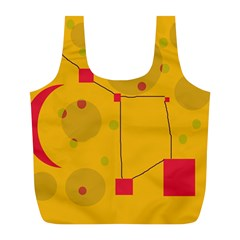 Yellow Abstract Sky Full Print Recycle Bags (l)  by Valentinaart