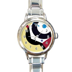 Digital Abstraction Round Italian Charm Watch by Valentinaart