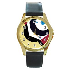 Digital Abstraction Round Gold Metal Watch by Valentinaart