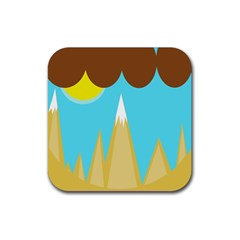 Abstract Landscape  Rubber Square Coaster (4 Pack)  by Valentinaart
