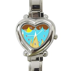 Abstract Landscape  Heart Italian Charm Watch by Valentinaart