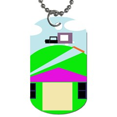 Abstract Landscape  Dog Tag (one Side) by Valentinaart
